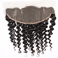 8-20inch Black Lace Front / Hand Tied Deep Wave Human Hair Closure Light Brown Swiss Lace 45g-80g gram Cap Size