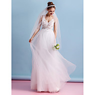Lanting Bride A-line Wedding Dress-Floor-length Spaghetti Straps Lace / Tulle