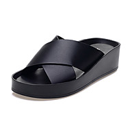 Women's Shoes Leather Wedge Heel Slippers Slippers Office & Career / Dress / Casual Black / White