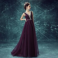 Formal Evening Dress A-line V-neck Sweep / Brush Train Polyester with Beading / Crystal Detailing