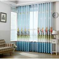 Two Panels Print Kids Room Darkening Curtains
