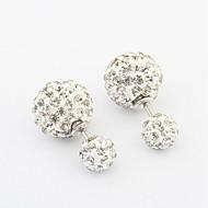 4 Colors Hot Fashion Brand Crystal Jewelry Double Beads Full Rhinestone Imitation Pearl Studs Earrings