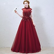 Formal Evening Dress A-line High Neck Floor-length Tulle with Appliques / Beading / Sequins