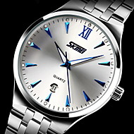 SKMEI Heren Dress horloge Kwarts Japanse quartz Kalender Waterbestendig s Nachts oplichtend Roestvrij staal Band Zilver Goud Zwart Blauw
