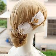 Vrouwen / Bloemenmeisje Veren / Licht Metaal / Imitatie Parel Helm-Bruiloft / Speciale gelegenheden Haarspeld 1 Stuk
