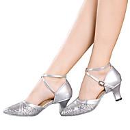 Chaussures de danse(Noir Rouge Argent Or) -Non Personnalisables-Talon Cubain-Cuir Verni Paillette Brillante Paillette Synthétique-Latine