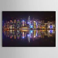 Landscape Hong Kong Night Skyline by Ben Heine Canvas Print From Ready to Hang 7 Wall Arts®