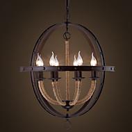 American  Industrial Loft Circular Wrought Iron Candle Chandelier Nordic Retro Cafe Restaurant Bar Globe Chandelier