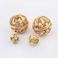 Fashion Earring Sweet Double Side Beads Golden Imitation Pearl Earrings Weaved Design Fashion Earring For Women