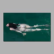 Pintados à mão Abstrato Pessoas Transparente Horizontal,Moderno 1 Painel Tela Pintura a Óleo For Decoração para casa