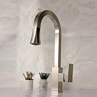 Deck Mounted Single Handle One Hole Brass with Nickel Brushed Kitchen Faucet Pullout Spray Sink Mixer Water Tap