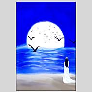מצויר ביד L ו-scape מודרני / קלאסי / מסורתי / ריאליסטי / ים- תיכוני / פסטורלי / סגנון ארופאי,פנל אחד ציור שמן צבוע-Hang