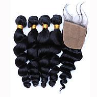 Trama do cabelo com Encerramento Cabelo Brasileiro Ondulação Larga 12 meses 5 Peças tece cabelo