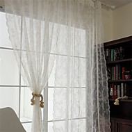 Two Panels European Solid Polyester Sheer Curtains Shades