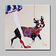 Large Hand Painted Fashion Girl And Dog Oil Painting On Canvas Wall Art Picture For Home Decor With Frame 100x100cm