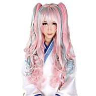 100 Cm Harajuku Lolita Full Wig Long Hair Synthetic Wig 2 Clips Femme Anime Rainbow Ombre Cosplay Wigs 0.6kg