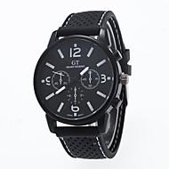 Men's European Style Fashion Round Black Case Fashion Silicone Wrist Watch