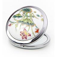 Polvera(Blanco) -tema de la vendimia-No personalizado 7*7*1.5cm Acero inoxidable / Cerámica