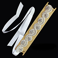 White Crystal Handmade Flower Ribbon Satin Hair Jewelry Headband for Wedding