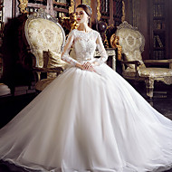 A-line Wedding Dress Floor-length Jewel Tulle with Appliques / Beading
