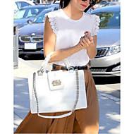 Mulheres Camiseta Casual Moda de RuaSólido Branco / Preto Algodão Decote Redondo Sem Manga Fina