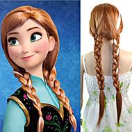 24 ιντσών γυναίκες μακριά ίσια συνθετική περούκα μαλλιά cosplay μαλλιά πλεξούδα anna καφέ ανακατεύουμε λευκό