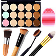 1pcs 15 צבעי הסוואה קרם טבעי קונטור פנים / איפור קונסילר פנים ביצה לוח + 1 מתאר מברשת + 1 מברשת