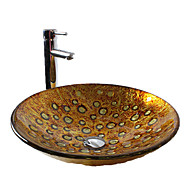 Zeitgenössisch T19*460*H130MM Rundförmig Sink Material ist HartglasWaschbecken für Badezimmer / Armatur für Badezimmer / Einbauring für