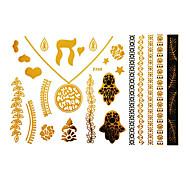 Stencils de Tatuagem TemporáriaTatuagem AdesivaFeminino / Adulto- dePapel-Dourada-23*15*0.31