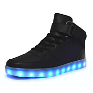 LED's Shoes Women's Shoes Synthetic Flat Heel Bootie Boots / Fashion Sneakers Outdoor / Casual Black / Red / White
