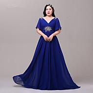 Formal Evening Dress-Royal Blue Sheath/Column V-neck Floor-length Satin / Tulle