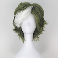 Kabaneri of the Iron Fortress Ikoma Synthetic Short Wavy Green Color White Highlight Men's Anime Cosplay Wig