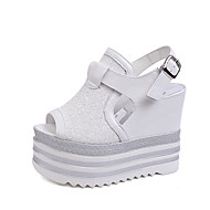 Women's Summer PU Office & Career Casual Party & Evening Wedge Heel Sequin Sparkling Glitter Hollow-out Black White Silver