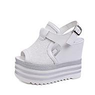 Ženske cipele-Sandale-Ured i karijera / Ležerne prilike / Zabava i večer-PU-Puna potpetica-Pune pete / Otvorene salonke-Crna / Bijela /