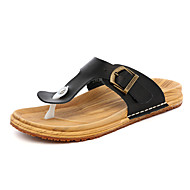 Women's Shoes Leather Flat Heel Flip Flops Clogs & Mules Outdoor / Office & Career / Casual Black / Yellow / White