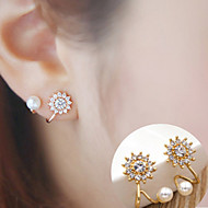 Stud Earrings Alloy Fashion Flower Sunflower Silver Golden Jewelry Daily Casual 1 pair