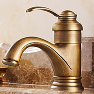 Traditional Centerset Rotatable with  Ceramic Valve Single Handle One Hole for  Antique Brass , Bathroom Sink Faucet