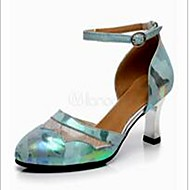 Non Customizable Women's Dance Shoes Leather / Lace Leather / Lace Latin Heels Cuban Heel Practice / Indoor Green