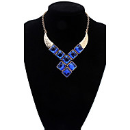 Bohemia National Wind Geometric Square Crystal Resin Fake Clothes Collar Statement Necklace For Women