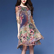 Women's Casual/Daily Vintage Loose Dress,Floral Round Neck Knee-length ½ Length Sleeve Nylon Spring Mid Rise