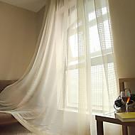 Deux Panneaux Moderne Tartan Rose / Blanc / Jaune Salle de séjour Mélange Poly/Coton Sheer Rideaux Shades