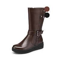 Aokang Women's Shoes Leather Platform Fashion Boots/Comfort/Round Toe/Closed Toe Boots Outdoor/Office & Career/Casual