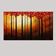 Hand bemalt rot Baum Landschaft Messer Ölgemälde nach Hause Bürodekor mit gestreckten Rahmen
