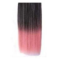 26 tommers klippet i syntetiske svart rosa rette hair extensions med 5 klipp