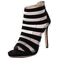 Women's Summer Heels / Open Toe Suede Dress Stiletto Heel Black