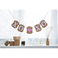 XO XO with Pink Heart Banner Wedding Engagement Valentines Decor