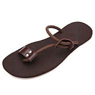 Heren Slippers & Flip-Flops Zomer Comfortabel PU Casual Platte hak Zwart Bruin