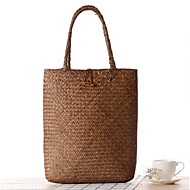 Women Straw Casual Tote White / Brown