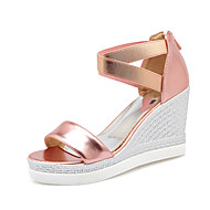 Women's Shoes Pu/Patent Leather Wedge Heel Wedges/ Platform / Comfort / Open Toe Sandals Office & Career/DressPink/Red