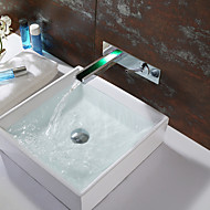 Wall Mounted Bathroom Sink Faucet With Color Changing LED Waterfall Faucet